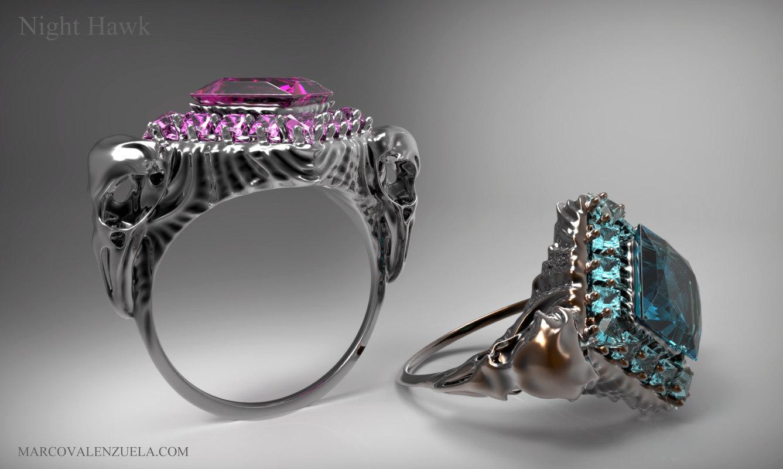 3d printable night hawk ring