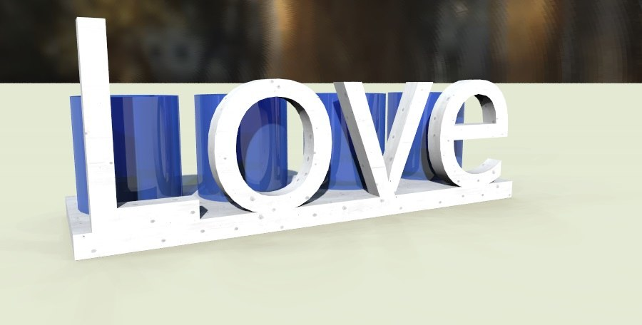 3d model love candle