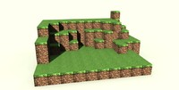 3d minecraft scene craft model