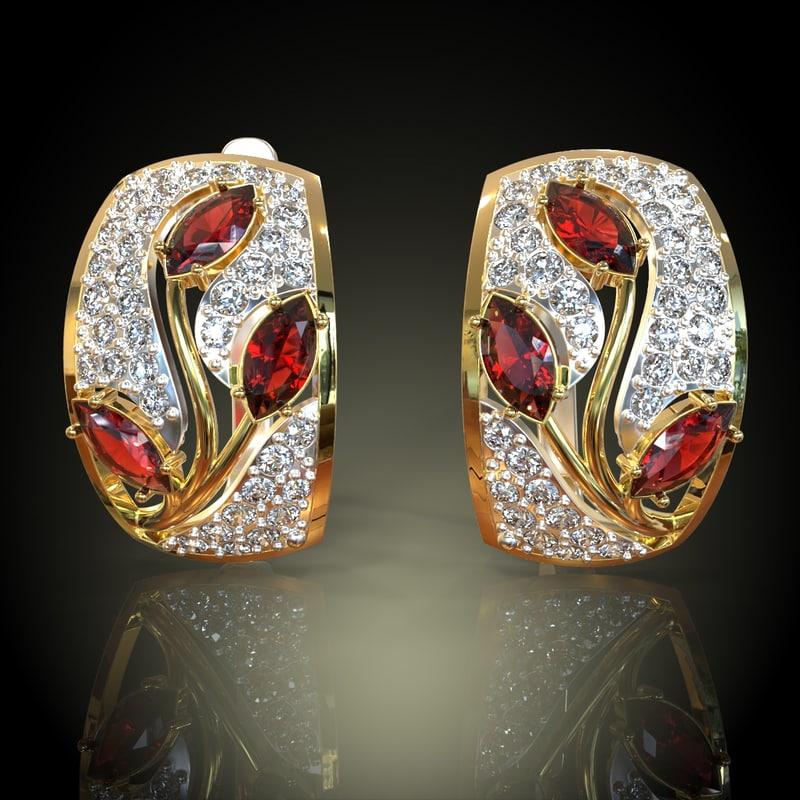 3d model stones earring gold