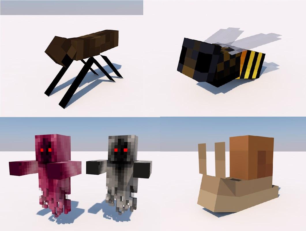 Snail, Bee, Fly, Wraith Minecraft rigs