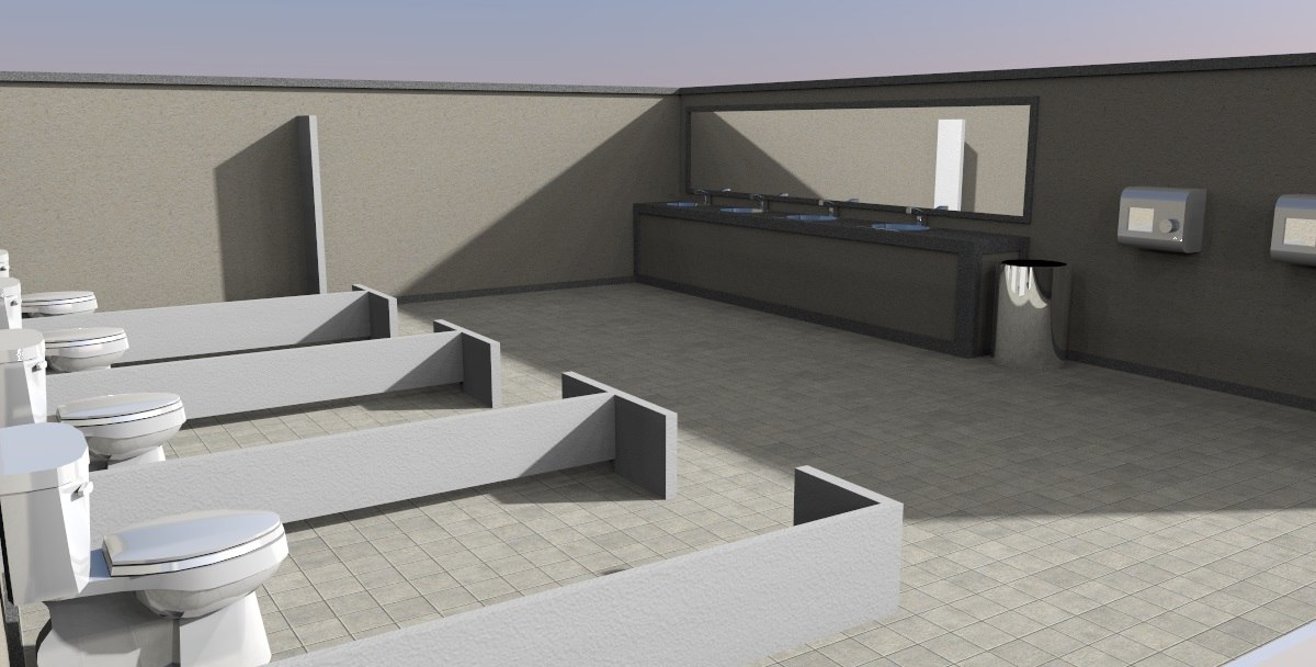 toilet scene 3d model
