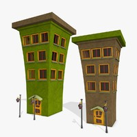 3d cartoon buildings