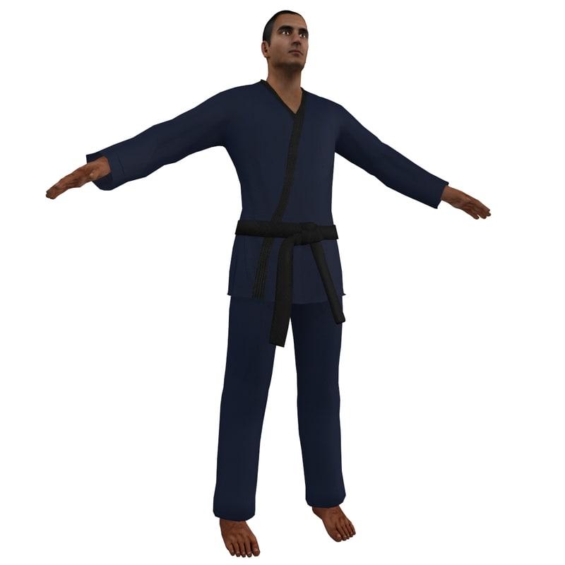 karate martial artist 6 3d model