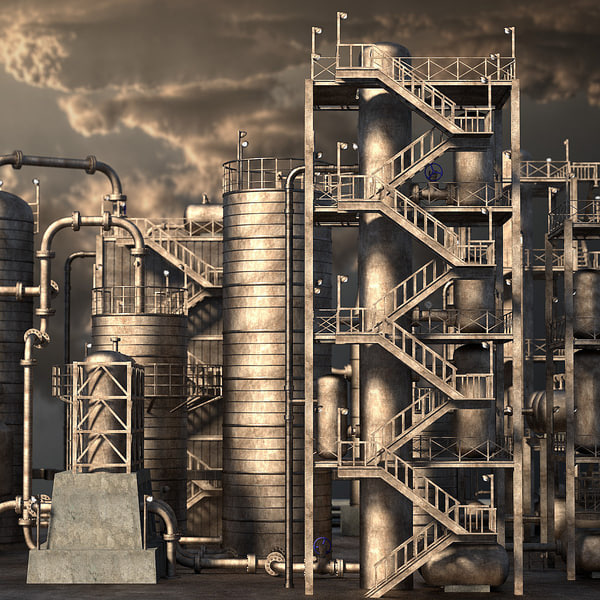 3d 3ds rusty oil refinery
