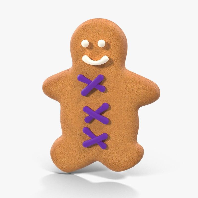 3d gingerbread cookie 08 model