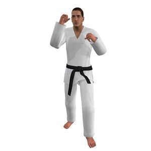 3d rigged martial artist 3 model