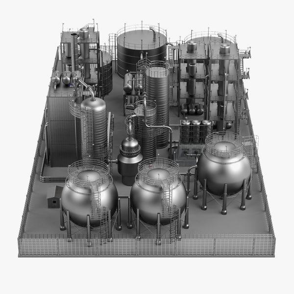 3d model large oil refinery