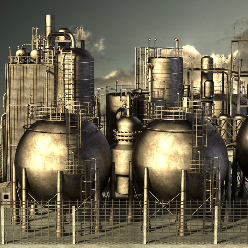 3ds large rusty oil refinery