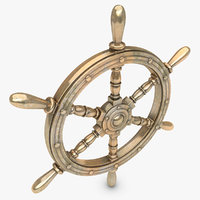 realistic ship wheel bronze 3d model
