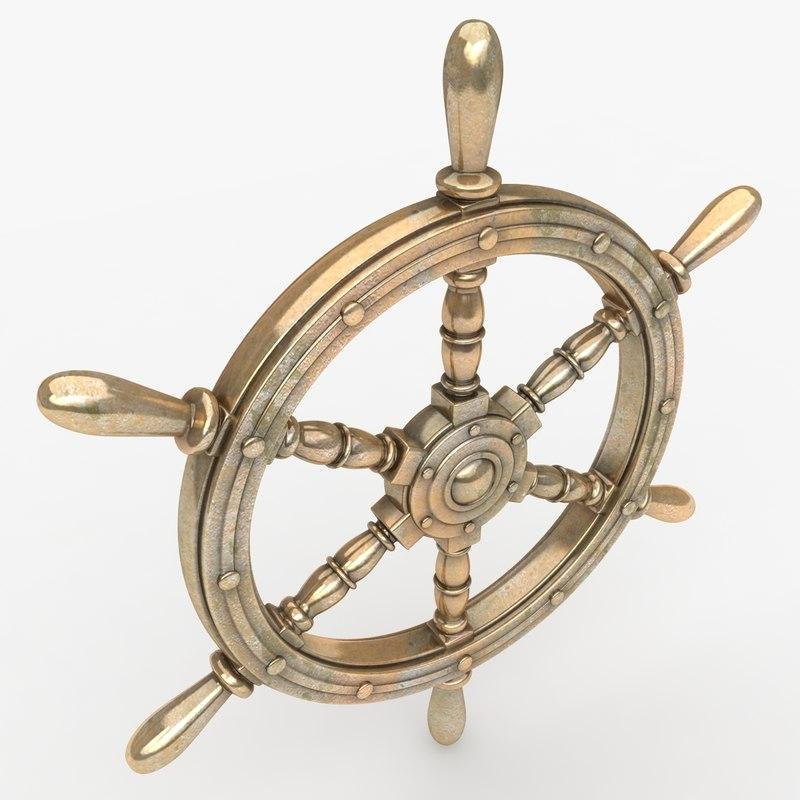 realistic ship wheel bronze 3d model