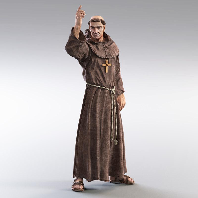 3d model medieval monk