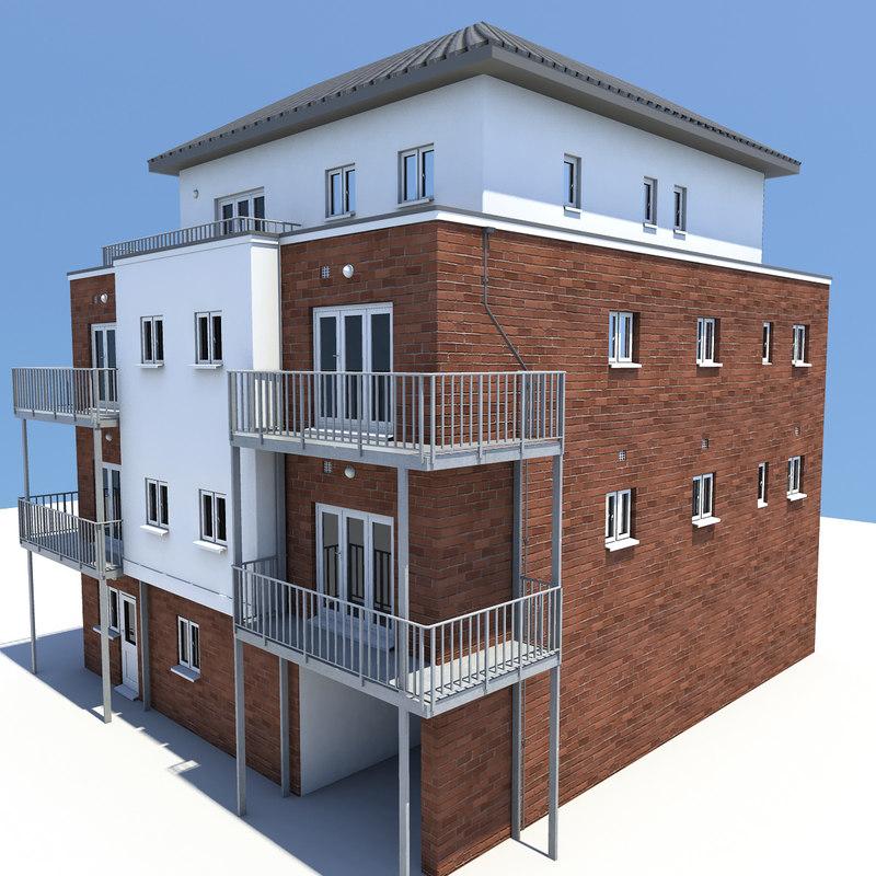 3d Model House Building Residential: 3d Model Of 4 Story Building