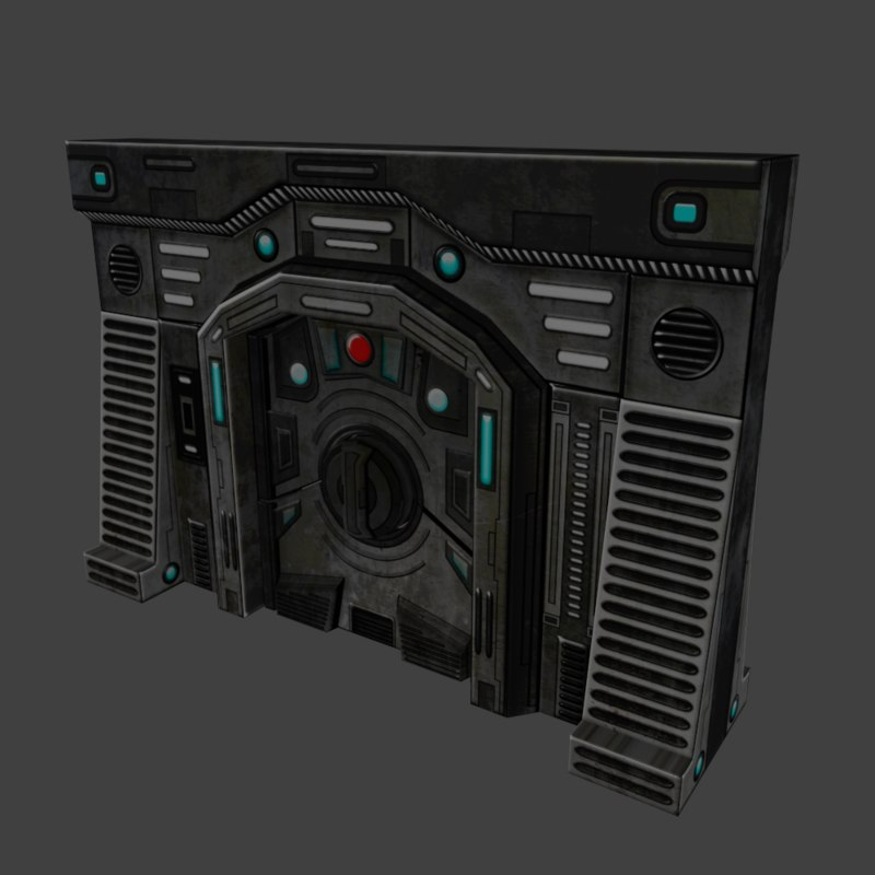 3d sci-fi wall door
