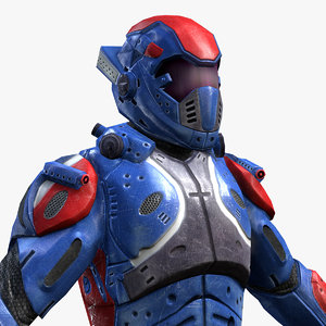 3d model sci-fi armor male character