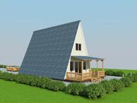 3d model exterior house econom