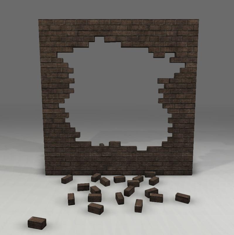 old wall broken 3d obj
