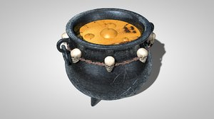 3d model witch caldron