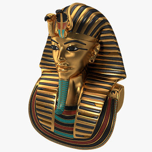 3d model of gold death mask tutankhamun