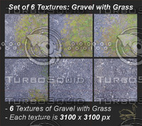 Gravel with Grass: Set of 6 Textures