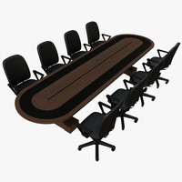 3d model of conference table chair