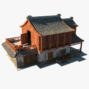 3d model of medieval chinese depot