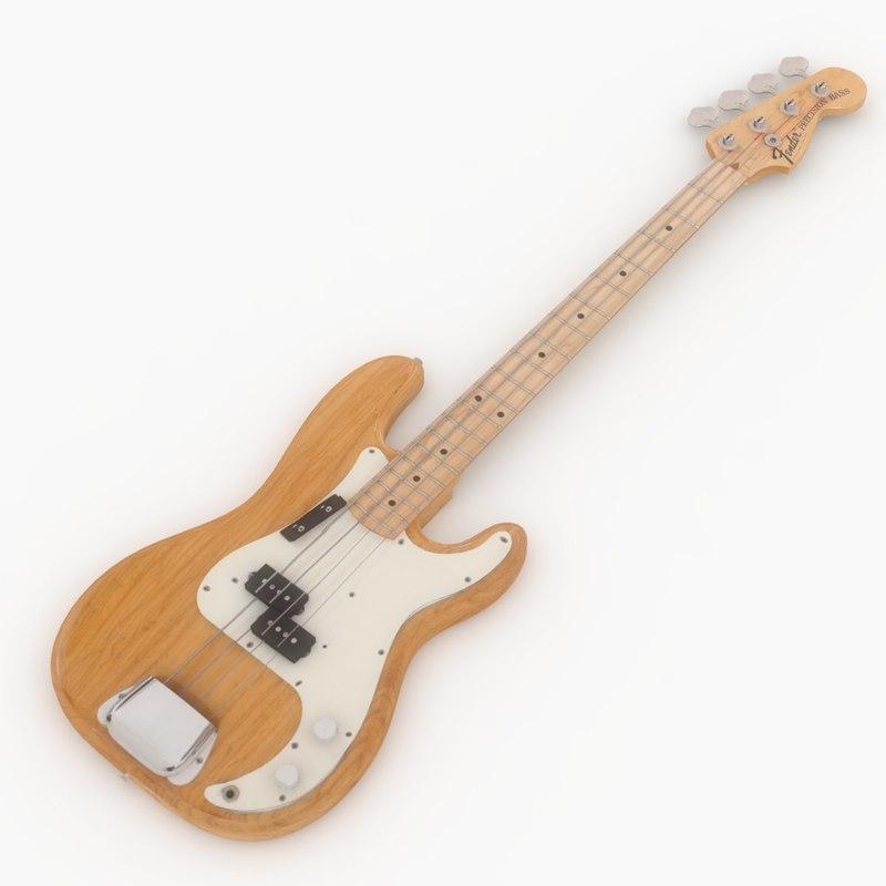 3d fender precision bass guitar model