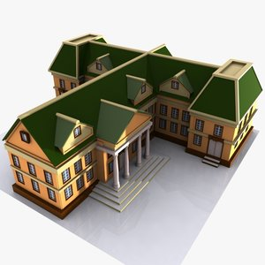 cartoon mansion toon 3d model