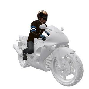 3d rigged biker model