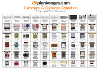 2d Floorplan Furniture & Fixtures Collection Topdown views & Overhead Views (2)