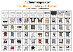 2d Floorplan Furniture & Fixtures Collection Topdown views & Overhead Views (2)