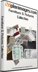 2d Floorplan Furniture & Fixtures Collection Topdown views & Overhead Views