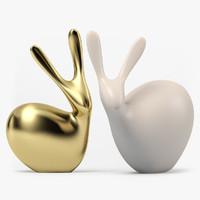 3d clay figurine rabbits model