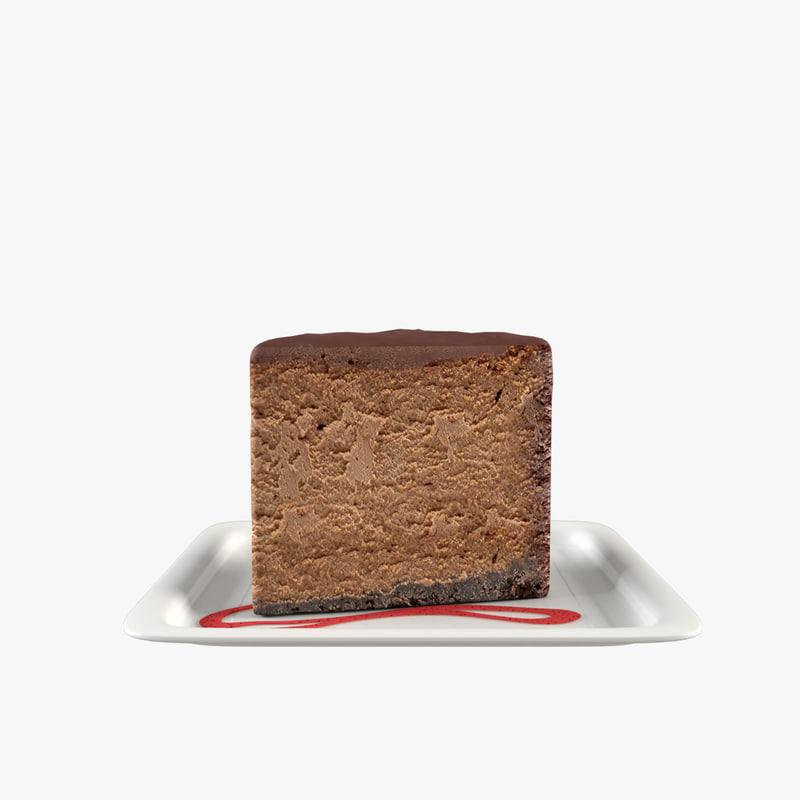 slice chocolate cake 3d model