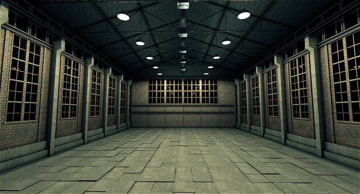 old industrial warehouse 3d obj