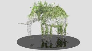 metal wire sculpture elephant 3d max