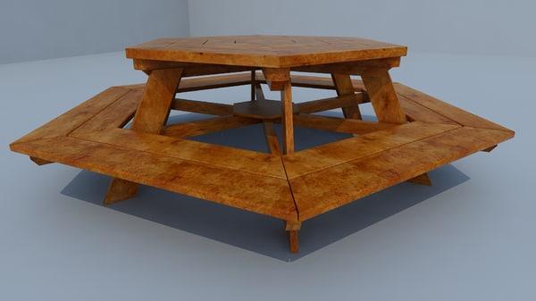 3d model hexagonal table