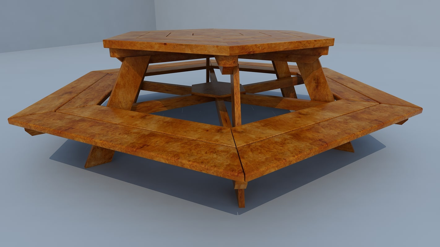 3d model hexagonal table