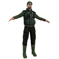 fisherman hat vest 3d max