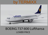 3d airplane boeing 737-800 lufthansa model