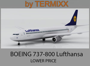 3d airplane boeing 737-800 lufthansa model