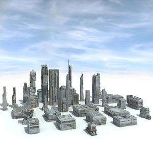 3d sci fi futuristic city model