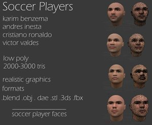 3ds max soccer player faces