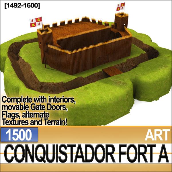 3d model conquistador fort 1500