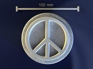 3d peace sign