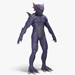 3d model humanoid piranha monster