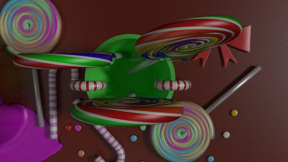 3d sweets lollipop scene model