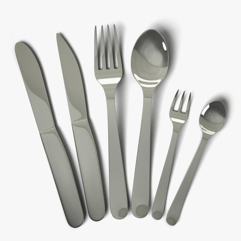 cutlery knife fork 3d model