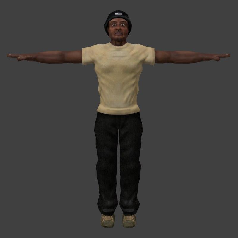 3d human black man