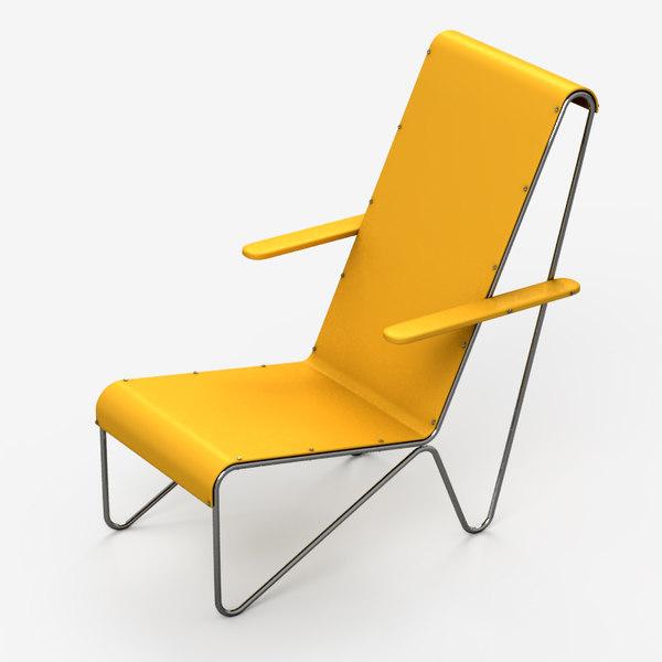 3d model beugelstoel chair rietveld